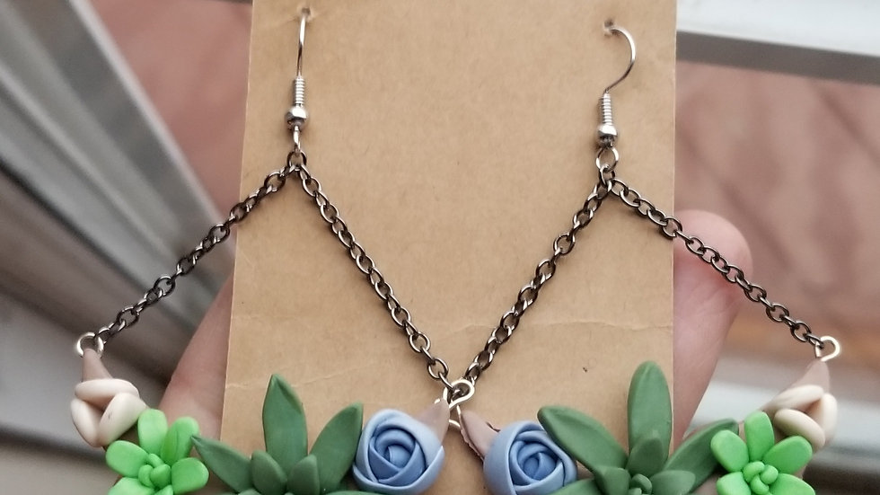 Polymer clay succulent dangle earrings