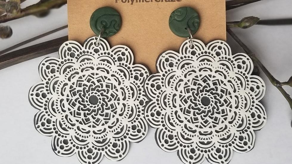 Handmade polymer clay mandala statement earrings