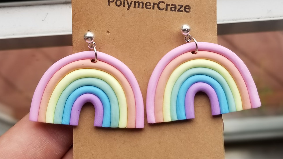 Handmade polymer clay pastel rainbow dangle earrings