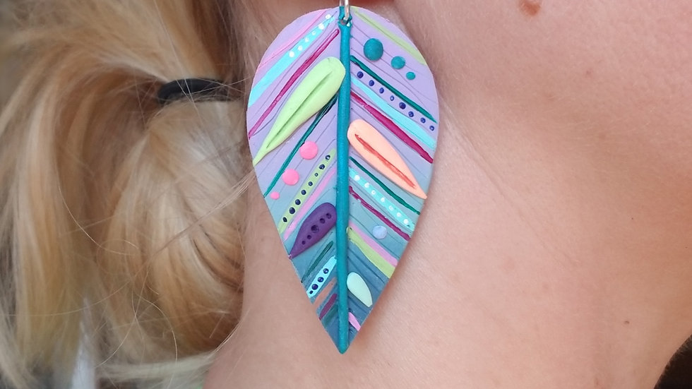 Polymer clay colorful feather statement earrings