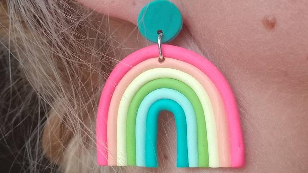 Handmade polymer clay bright rainbow earrings