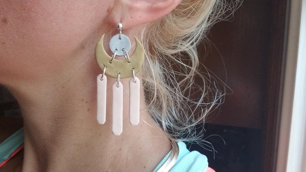 Polymer clay lightweight dangle statement earrings