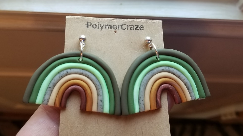 Polymer clay statement rainbow earrings