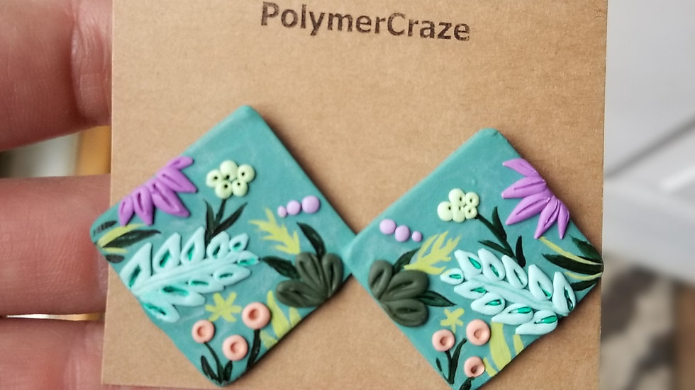 Hand painted polymer clay statement stud earrings