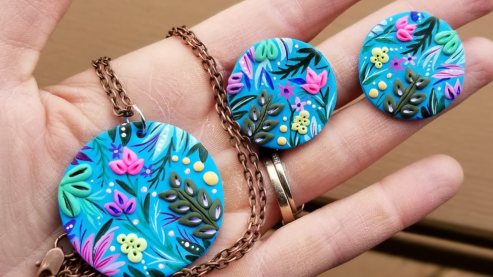 Hand painted polymer clay statement set