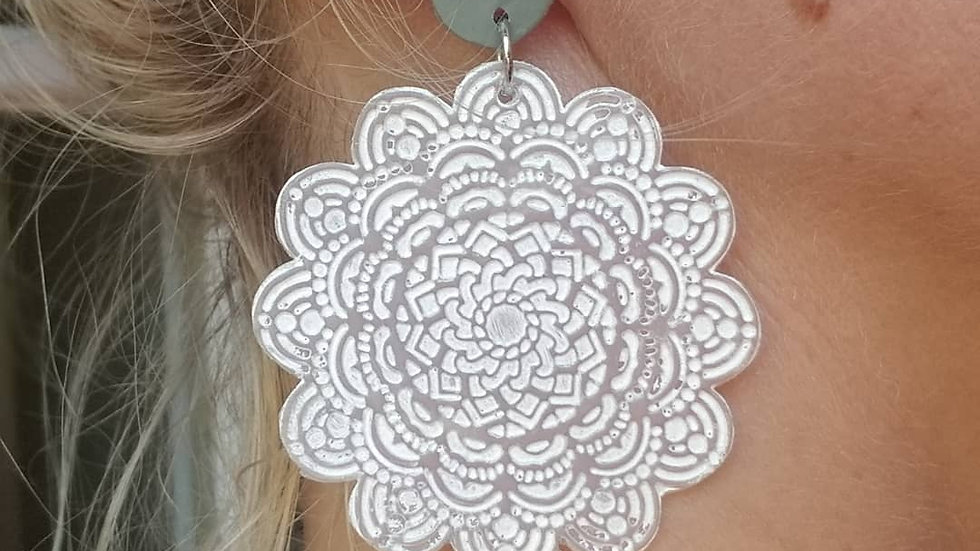 Polymer clay mandala statement earrings