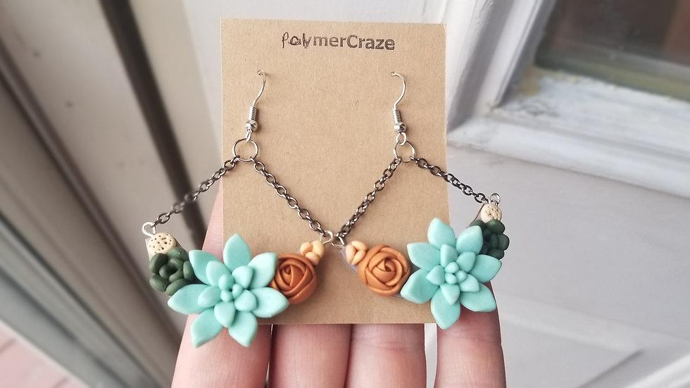 Handmade polymer clay succulent dangle earrings
