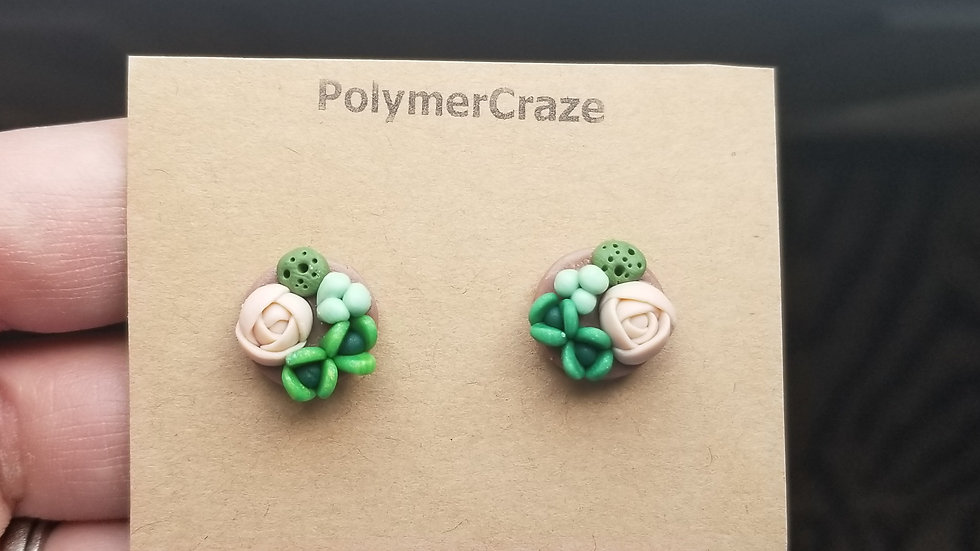 Handmade polymer clay succulent stud earrings