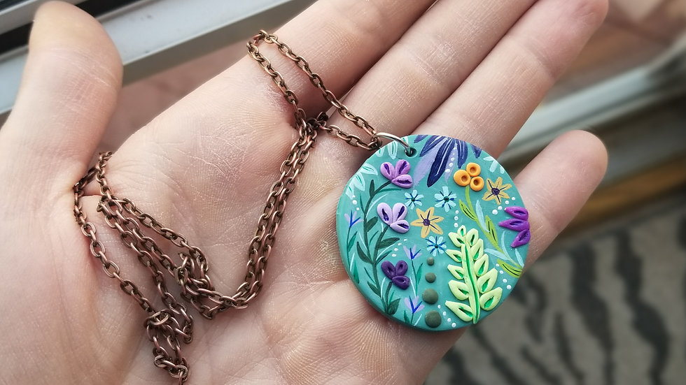 Hand painted polymer clay statement pendant