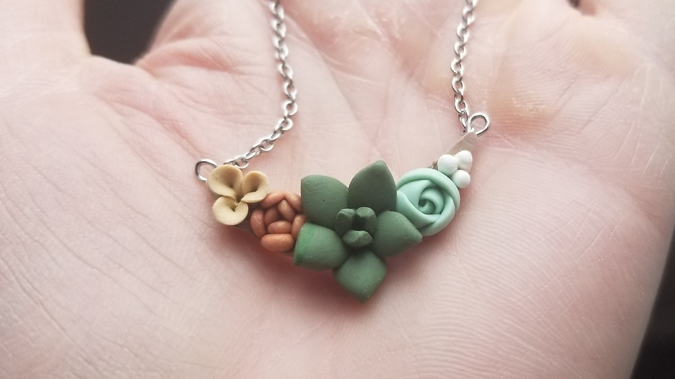 Handmade polymer clay pendant necklace