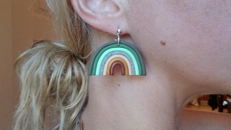 Polymer clay rainbow dangle earrings