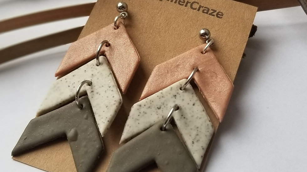 Polymer clay chevron statement earrings