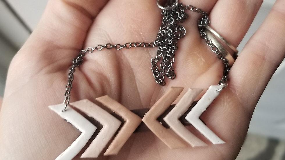 Handmade polymer clay chevron statement necklace