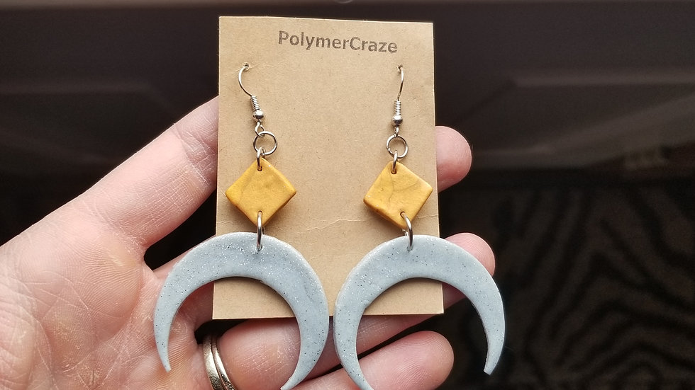 Handmade polymer clay crescent arch earrings