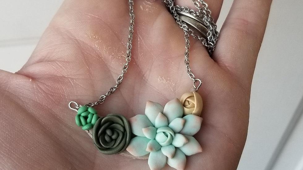 Handmade polymer clay succulent pendant