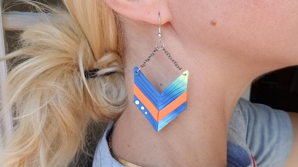 Handmade polymer clay chevron statement earrings