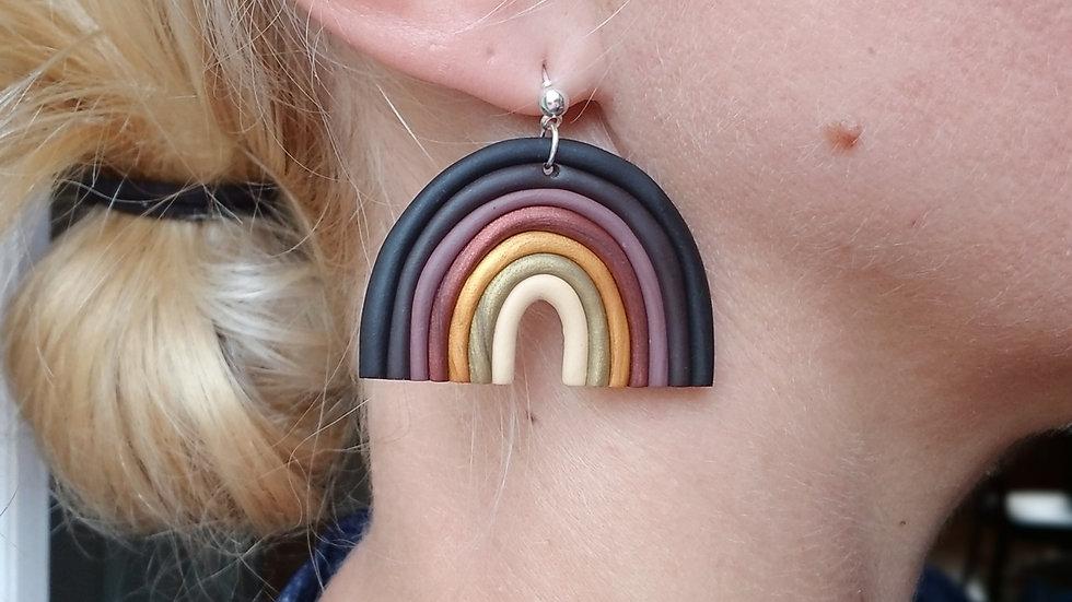 Handmade polymer clay rainbow dangle earrings
