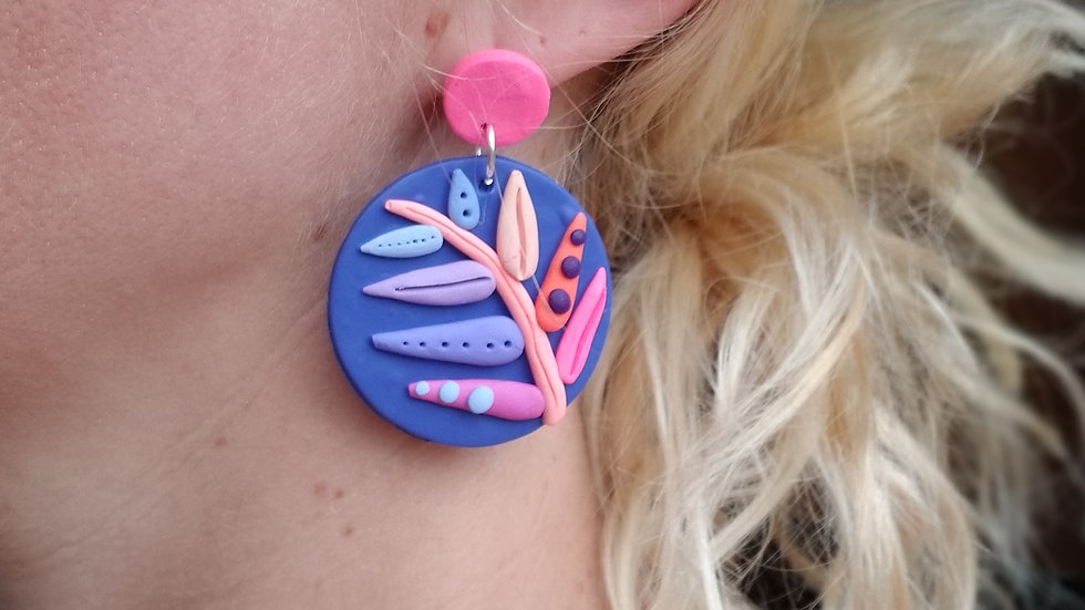 Polymer clay colorful statement earrings