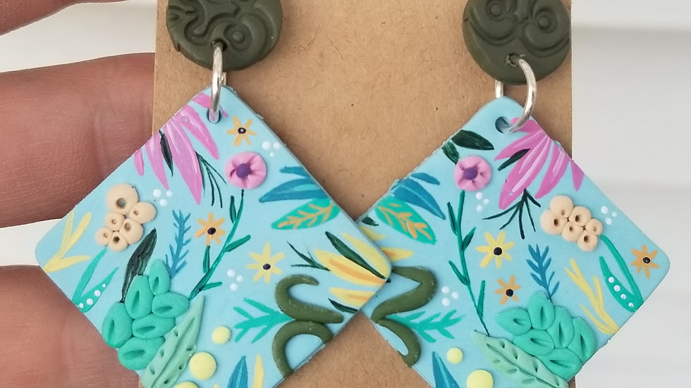 Hand painted polymer clay statement earrings