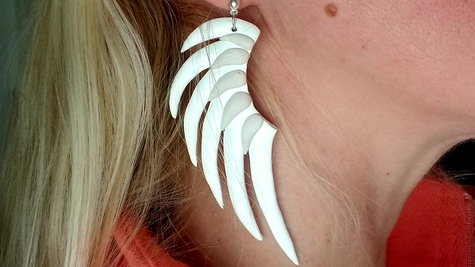 Polymer clay statement angel wing earrings