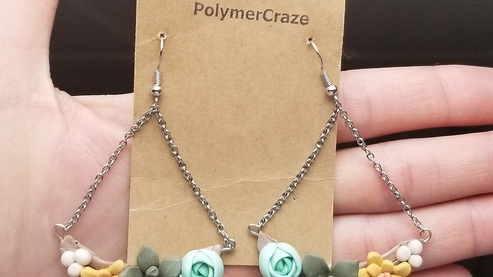 Handmade polymer clay succulent earrings