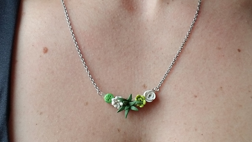 Polymer clay succulent pendant necklace