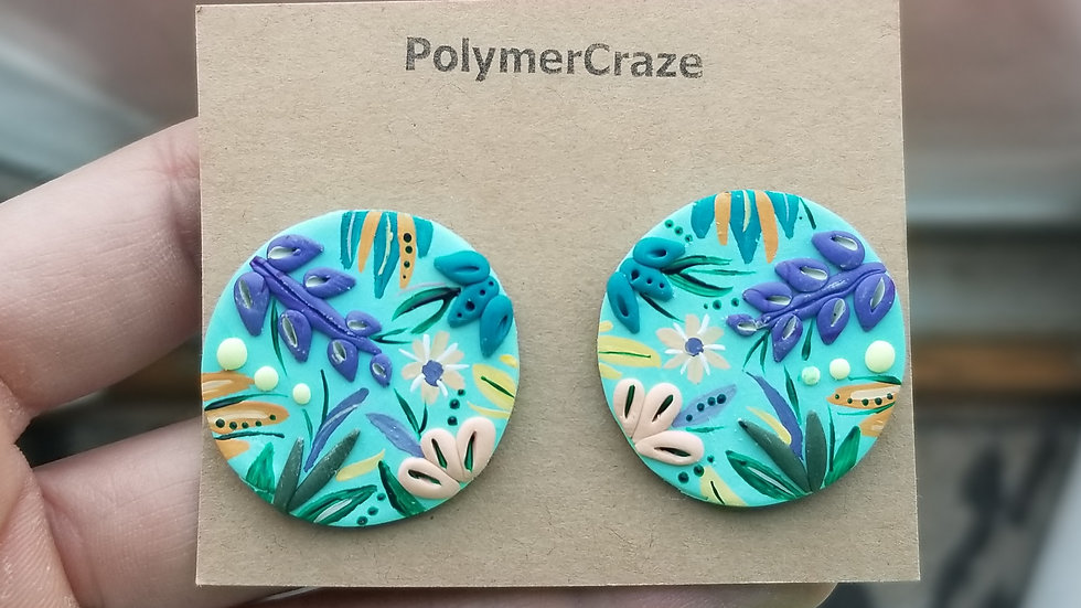 Hand painted polymer clay statement studs