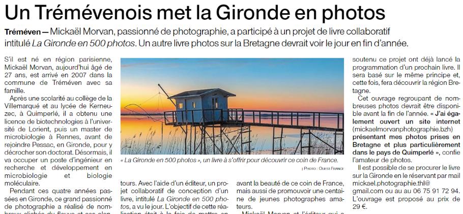 Pays de Quimperlé. Un Trémévénois met la Gironde en photos