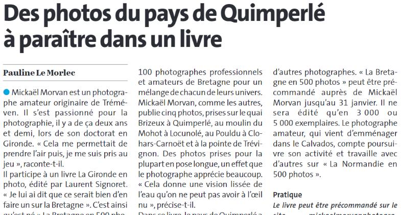 Des photos du pays de Quimperlé à paraître dans un livre