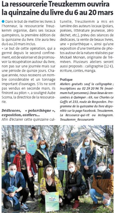 À Quimper, la ressourcerie Treuzkemm ouvrira la quinzaine du livre du 6 au 20 mars