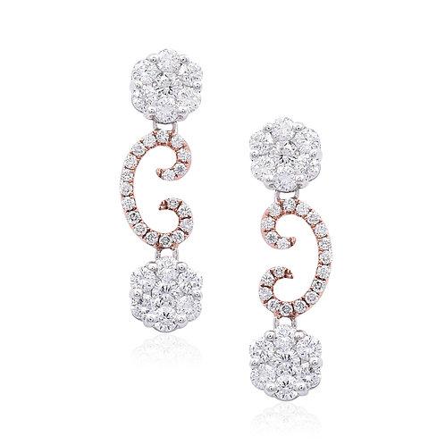 18K White & Rose Gold Diamond Earring DE03518