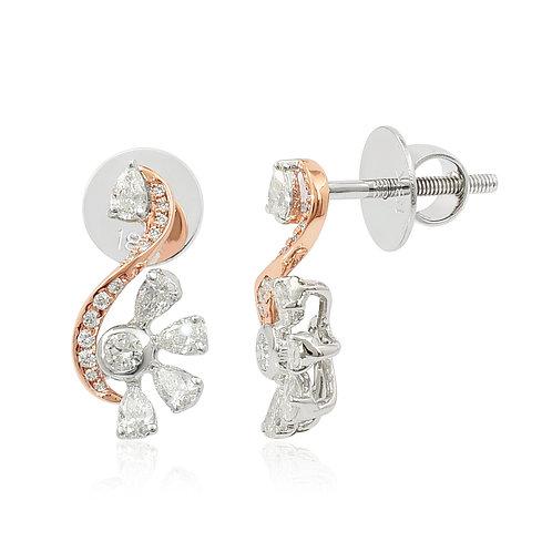 18K White & Rose Gold Diamond Earring DE03592