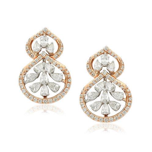 18K White & Rose Gold Diamond Earring DE03587