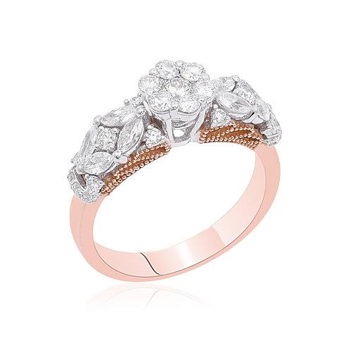 18KWhite & Rose Gold Diamond Ring DR04018