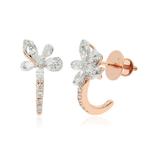18K White & Rose Gold Diamond Earring DE03591
