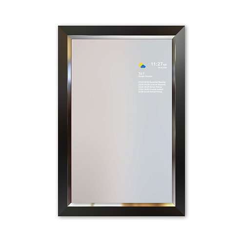Smart Mirror - Large Frame - Black With Silver Bezel