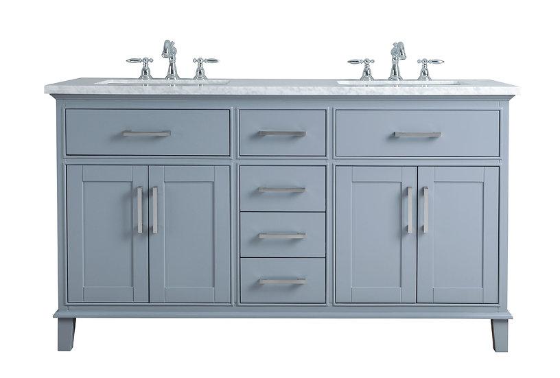 "Leigh 60"" Grey Double Sink Vanity"