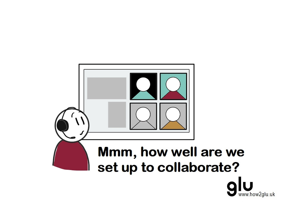 cartoon: person looking at screen with video call thinking 'Mmm, how well are we set up to collaborate?'