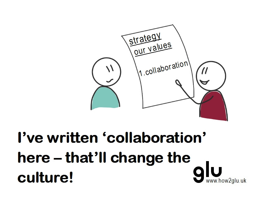 """Cartoon: person pointing to '1. collaboration' under 'strategic values' saying to another person """"I've written 'collaboration' here – that'll change the culture!"""""""