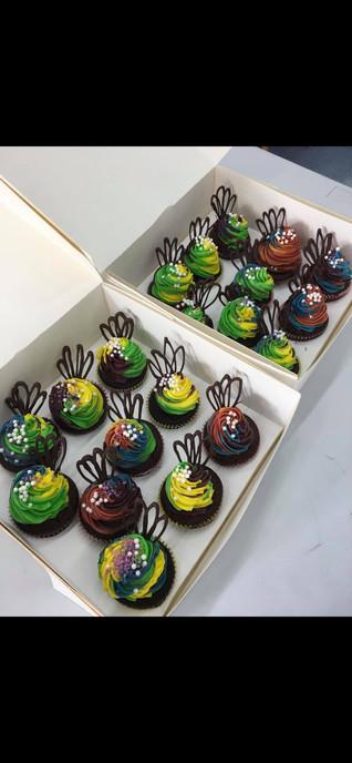 Rainbow Chocolate Cupcakes