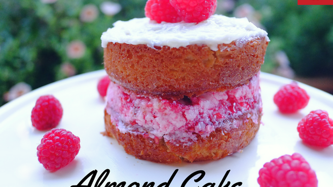 Almond Cake with Raspberry Buttercream