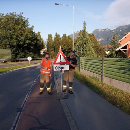 E41 - T1 Altach, Kreisverkehr Schweizerstrasse L55 - Koblacher Strasse, Ölspur vom Gasthaus Hahn Ric