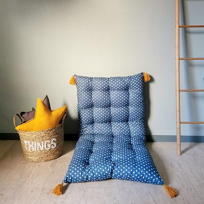 Blue teal dots cushion