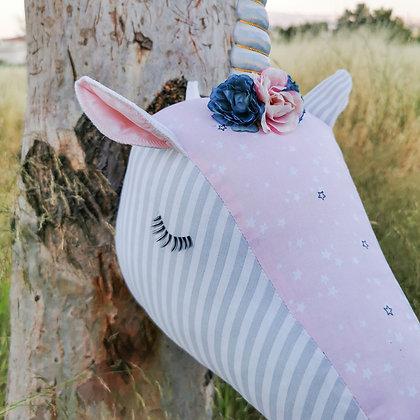 Pink star & Grey stripe