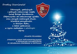 Życzenia świąteczne Dyrektora szkoły