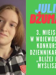 """PILNE! Sukces J. Dżuman w konkursie dziennikarskim """"Bliżej niż myślisz""""!"""