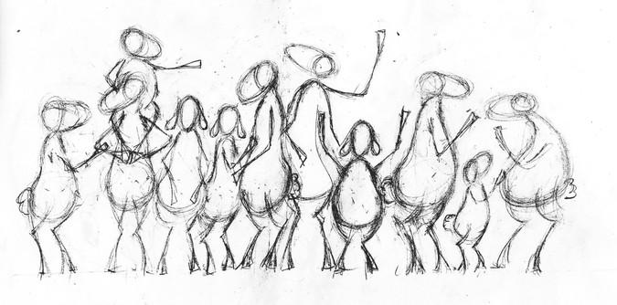 La foule - Composition