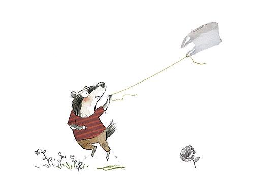 Badger flying kite