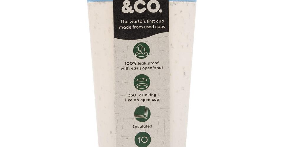 CIRCULAR & Co. Tasse à café réutilisable blanche et bleue