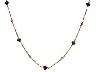 Diamond Bezel & Ruby, Emerald, Sapphire Necklace